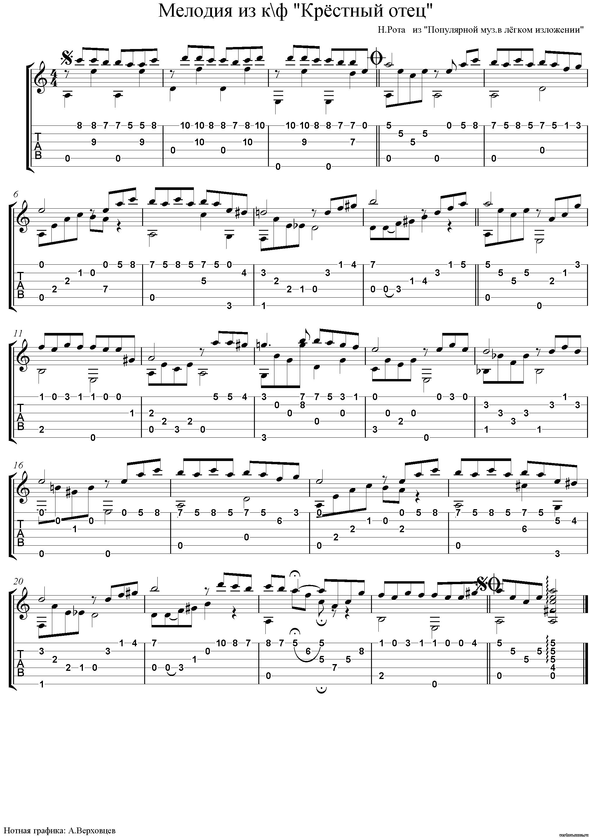 мелодии из кинофильмов под гитару ноты