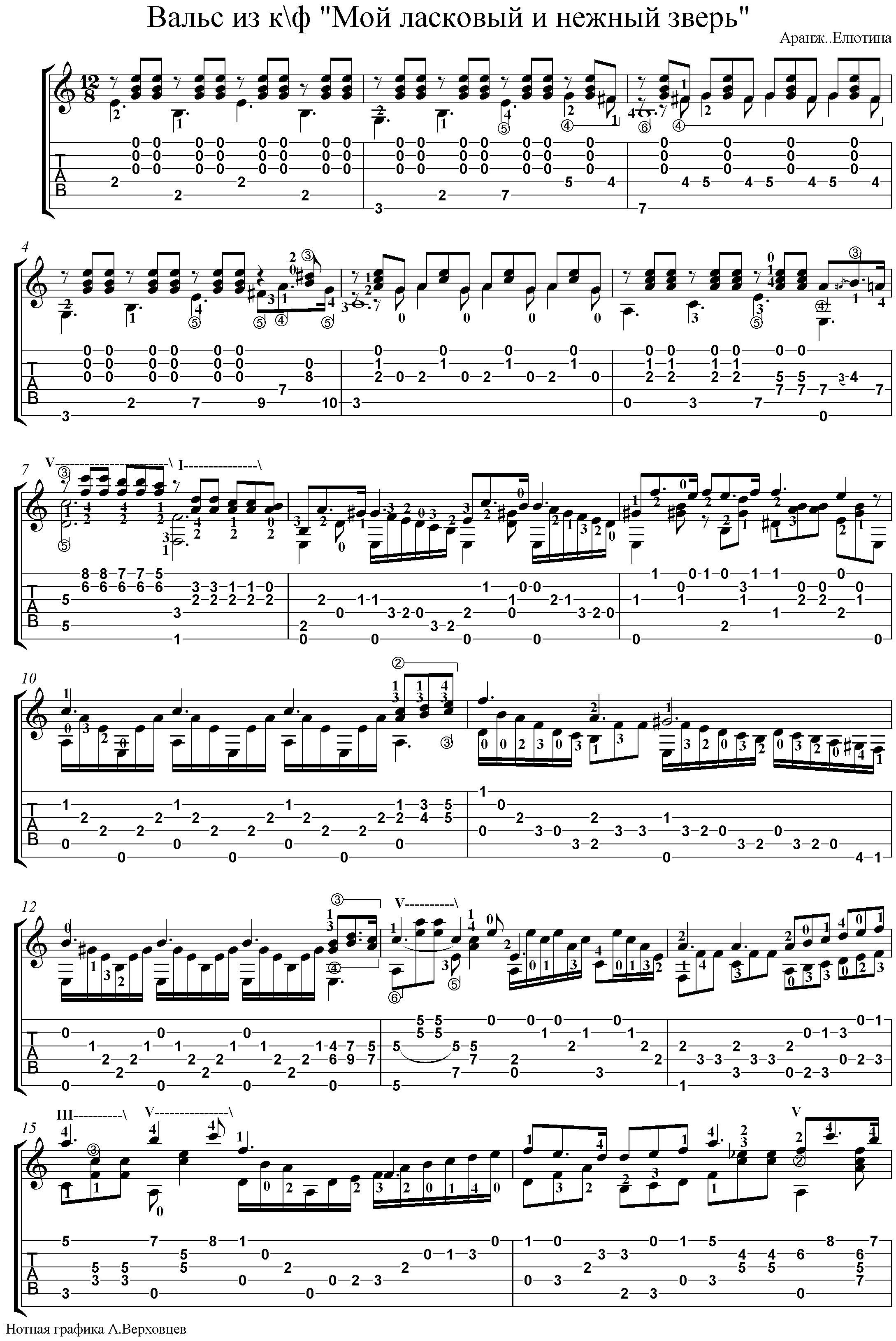 Звери - Для тебя - Аккорды песен для гитары - 5Lad ru